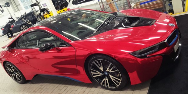 Bmw I8 Red Chrome Wrap London