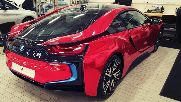 Bmw I8 Red Chrome Wrap London