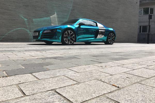 Company Audi R8 V10 Wrapped In Blue Chrome 1