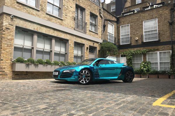 Company Audi R8 V10 Wrapped In Blue Chrome 2
