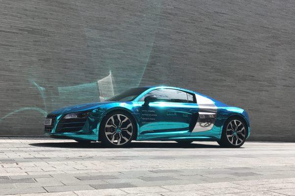 Company Audi R8 V10 Wrapped In Blue Chrome 3