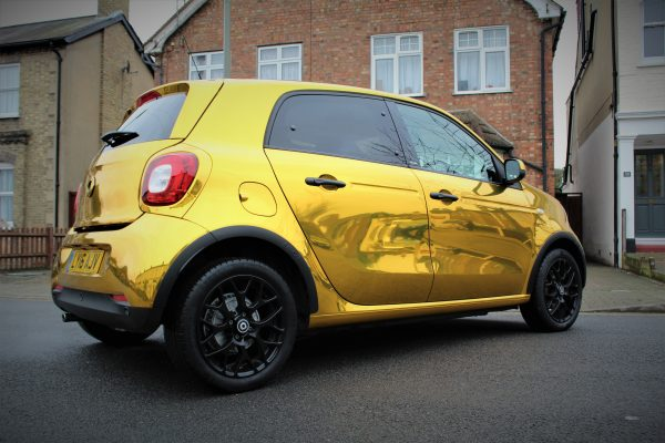 SMART CAR FULL CHROME WRAP 3