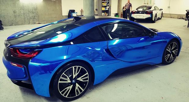 Bmw I8 Blue Chrome Wrap London