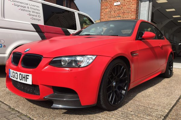 BMW M3 MATTE RED VEHICLE WRAPPING 4