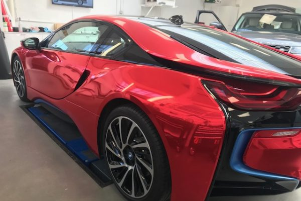 RED CHROME BMW I8 BY CREATIVE FX BASED IN BROMLEY 3