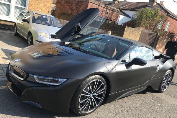BMW I8 Matte Black Wrap 1