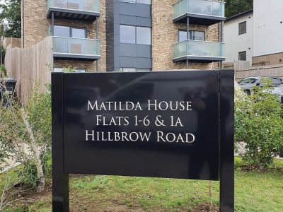 EXTERIOR METAL POST SIGNAGE – MATILDA HOUSE